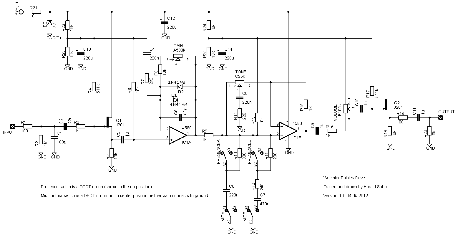 fuzz pedal schematic  | diystompboxes.com
